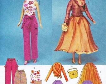 OOP BARBIE DOLL Sewing Pattern Fahion Dolls Pants Skirt Top Blous Purse 3931