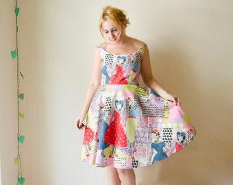 Print Dress Retro Summer with Off Shoulder Bateau Neckline Vintage Full Skirt 50s 60s Pop Art Graphic Pink Mint