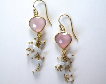 Pink Chalcedony and Moonstone dangle gemstone earrings 14k gold filled wires