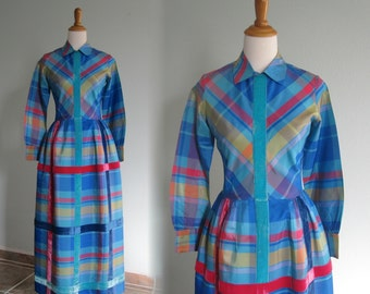 Gorgeous 60s Blue Plaid Taffeta Gown - Vintage Taffeta and Velvet Party Dress by Midge Grant - Vintage 1960s Dress S