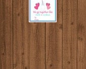 Cookies And Milk Valentine Tag, We Go Together Like Milk And Cookies, Instant Download