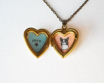 Personalized Pet Jewelry - Frenchie Necklace - French Bulldog Heart Locket Pendant