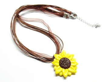 Sunflower Necklace,  Cold Porcelain Clay Sunflower Pendant Charm in a Brown Organza Ribbon Necklace - Spring Necklace - Gift