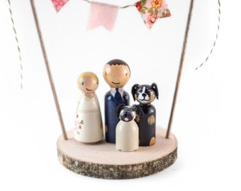 Rustic Wedding Cake Topper with Dogs - Custom wedding cake topper 2 dogs - cake topper with pet - dog cake topper - cake topper with dogs