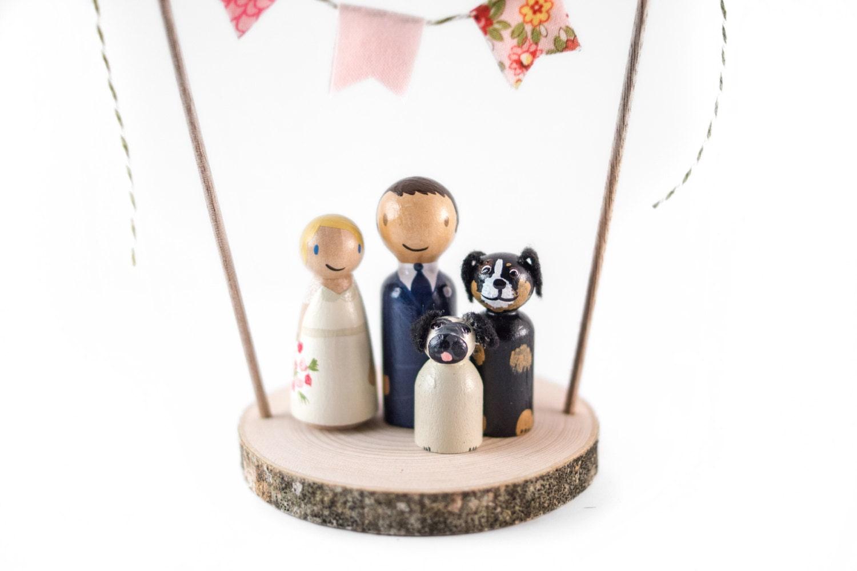 Rustic Wedding Cake Topper with Dogs Custom wedding cake