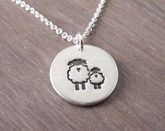 Small Mother and Baby Sheep Necklace, Ewe and Lamb, New Mom Jewelry, Fine Silver, Sterling Silver Chain, Made To Order