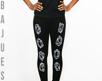 BLACK and WHITE Cool QUARTZ Leggings Yoga Style
