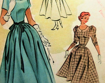 vintage McCall's 8761 Sewing Pattern, 1950s Dress Pattern, Full Skirted Dress Ballet Length, Bust 32, Sleeve Variation, 1950s Sewing Pattern