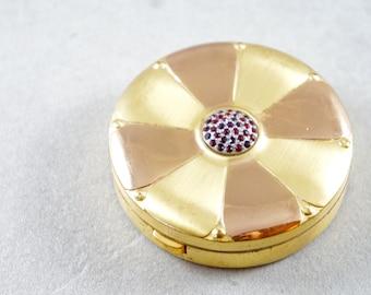 Brass 1930s Ruby Compact - Round Brass Antique Ruby Flower Mirror Compact - Antique Brass Powder Compact - Round Antique Ruby Gemstone Case