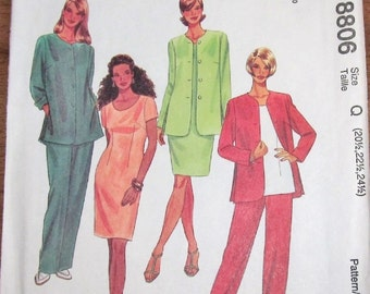 Sewing Pattern McCall's 8806, Jacket Dress Top Pull-on Pants, Womens Misses Plus Petite Half Size 20 22 24 Bust 43 45 47 Uncut Factory Folds