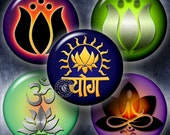 """Yoga Lotus - Printable Images - 2"""" circles - Digital Collage Sheets for Paperweights, Stickers, Magnets, Jewelry - Digital Downloads CG-663P"""