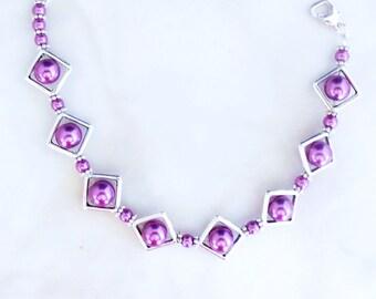 Purple Pearl Link Bracelet, Link Bracelet, Made in America, Teen Girl Gifts, Bridesmaid Bracelet, Gifts for Her, Handmade Bracelet