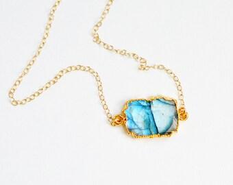 Flashing Labradorite Raw Slice Gold Dipped Pendant Necklace