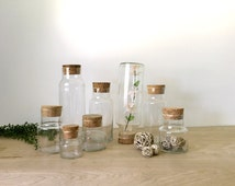Cylinder Clear Glass Apothecary Jars with Cork Lids - Multiple Selections