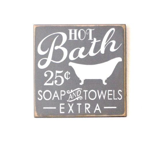 BATHROOM SIGN - Wooden Painted Sign - 12 x 12 - Gray - Bathtub Sign - Wood Sign - Distressed sign - Primitive Bathroom - Rustic Bathroom