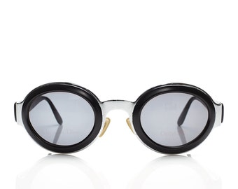gorgeous 90s vintage CHRISTIAN DIOR black silver metal frame oval sunglasses
