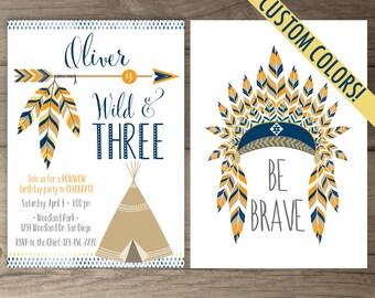 Wild & Three Birthday Party Invitations • invites • arrows feathers tribal native teepee • printable