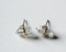 Herkimer Diamond earrings,Minimal earrings,raw stone earrings,healing crystal and stone jewelry,gold wire wrapped rough gemstone earrings