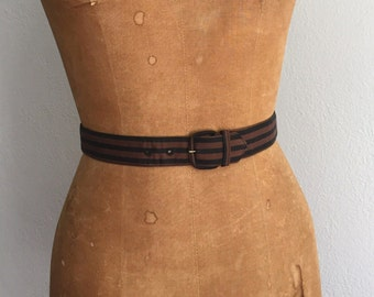 Vintage 1950s Belt / REDUCED 40s 50s 60s Poplin Brown Black Striped Belt Lightweight Cotton Corded Fabric Belt - Extra Small XS
