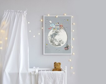 Large Kid's Wall Art, UNFRAMED Extra Large Poster, Children's Picture, Moon and Stars Nursery, Space theme, Unisex baby bedroom Art