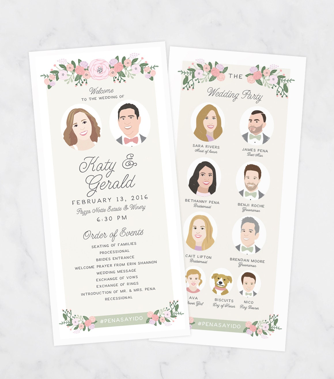 Wedding Party Programs Illustrated Wedding By MissDesignBerryInc