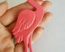 ON SALE Long pink Flamingo brooch