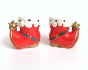 Christmas Salt and Pepper Shakers, Red Santa Boot Holiday Salt and Pepper Shakers