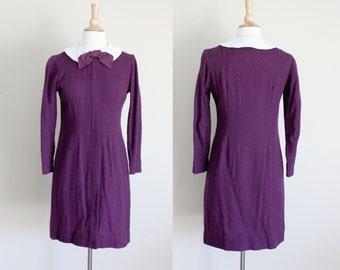 1960s Purple Peter Pan Collar Wool Shift Dress // Small