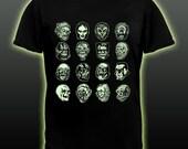GLOWS Horror Movie Monster Masks T-shirt Frankenstein Dracula Wolf Man Mummy Ceature Halloween glows in the dark