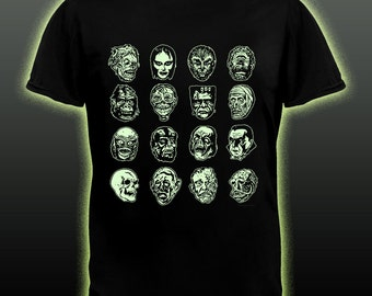GLOWS Horror Movie Monster T-shirt Frankenstein Dracula Wolf Man Mummy Ceature Halloween glows in the dark