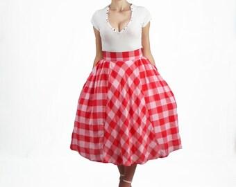 Long Skirt - Full Skirt, Plus Size Skirt, High Waisted Skirt, Gingham Skirt, 50's skirt, Circle Skirt, Pin Up Midi Skirt, Pleated Skirt