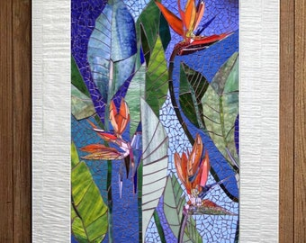 EXTERIOR MOSAIC WALL art stained glass wall decor floral garden  indoor outdoor patio art wall hanging made-to-order