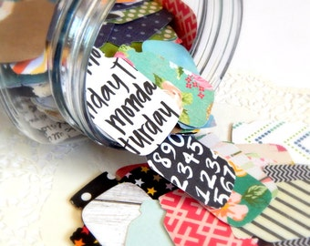 Mason Jar Punches. Paper Mason Jars. Jar Tags. Mason Jar Tags. Scrapbook Die Cuts. Planner Accessories. Journal Ephemera. Embellishment Kit.