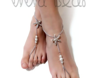 Starfish Barefoot Sandals. Silver Foot Jewelry. Rhinestone Starfish Charms and White Pearl Beads . Boho Anklets. Beach Wedding. Set of 2