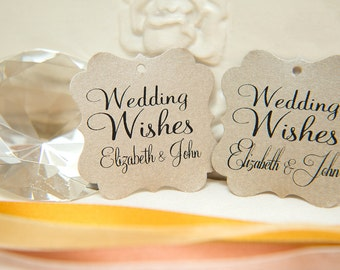 Custom Wishing Tree Tags. Wedding Wishes with Names. Mink, Tan Wedding cards. Square printed favour tags. Mink pearlised card / gift tags