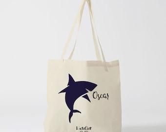 X228Y Tote Bag shark customizable child, purse, tote bag, changing bag, bag course, beach, canvas bag bag, cotton bag