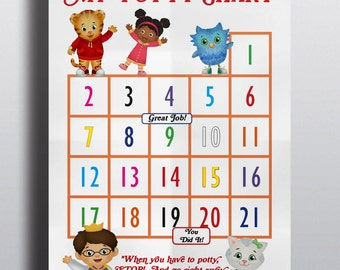 Daniel Tiger's Neighborhood Potty Training Sticker Chart / Miss Elaina / Daniel Tiger / Katerina Kittycat / O the Owl / Prince Wednesday