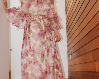 Bohemian Bridesmaids Dress - Long Sleeve Boho Dresses - Romantic Wedding Dresses - Chiffon Maxi Dresses - Floral Maxi Dress Wedding