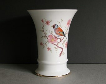 "7"" Tall Porcelain Flower Vase by Schumann Bavaria for Long Stem Flowers | Finch Bird In Cherry Blossom Tree | Arzberg Gold Crown over Shield"