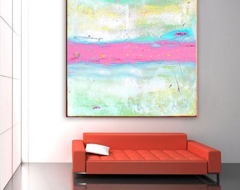 Abstract Painting Print, Abstract Art Pink Painting, Large Canvas Wall Art Pastel, Nursery Decor, Contemporary Art, Large Abstract Wall Art