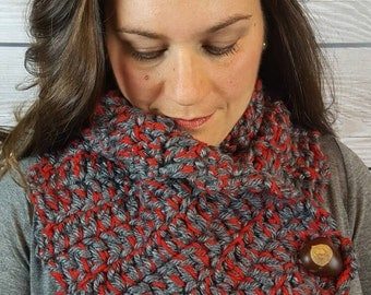 Ohio State Scarf, Buckeye Buttons, Gray and Red Scarf, Handmade Cowl - Red and Gray with 3 Real Buckeye Buttons! Fast Shipping!