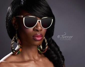 Large kente Print Earrings -  African Hoop Earrings  - kentePrint Earrings  - Big Earrings - ketepa print earrings - green, orange, black