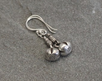 Thai Fine Silver Earrings with Flower Charm, Rustic Silver Earrings, Silver Dangles, Silver Bead Earrings, Hill Tribe Silver Flower Earrings