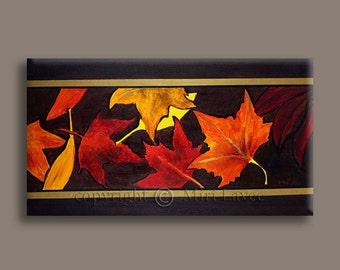 Large Wall Art Oil Painting, Art for Office, Leaf Painting, Leaf Art for Office Decor, Large Painting, Large Original Art for Office Decor