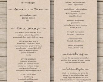 Printable Wedding Program Template - Order of Service - Rustic Wedding Program - Editable Wedding Program - YOU EDIT in WORD -Print on Kraft