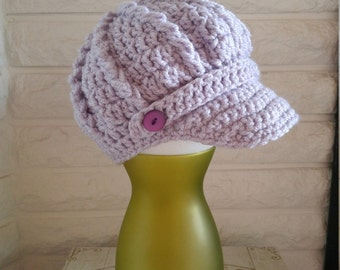 Girl's newsboy hat, girl's lavendar pageboy hat, crochet girl's hat with brim and button, accessories, fall, winter and spring fashion