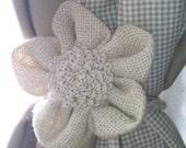 Sunflower Two Burlap Flower Curtain Tie Backs -  Curtain accessory - tie backs