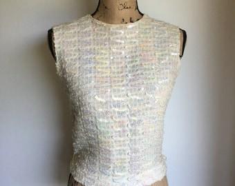Vintage Sequin Top.Zipper Back