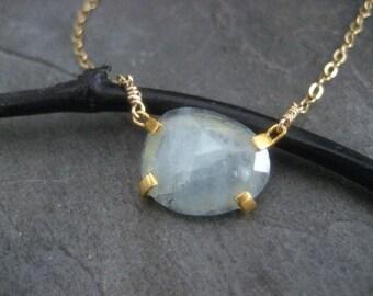 Aquamarine necklace,rose cut stone, aquamarine pendant, prong set pendant, gold filled, odd shape stone, genuine aquamarine, handmade