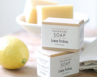 LEMON VERBENA - Ellie's Handmade Soap - 100% Natural + Cold Process Olive Oil Soap - 4 ounce bar